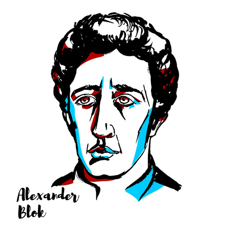 Alexander Blok engraved vector portrait with ink contours. Russian lyrical poet. Illustration