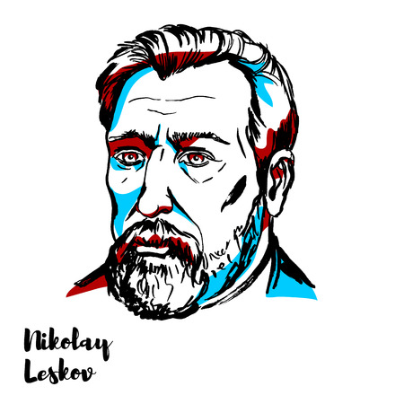 Nikolai Leskov engraved vector portrait with ink contours. Russian novelist, short-story writer, playwright, and journalist, who also wrote under the pseudonym M. Stebnitsky.