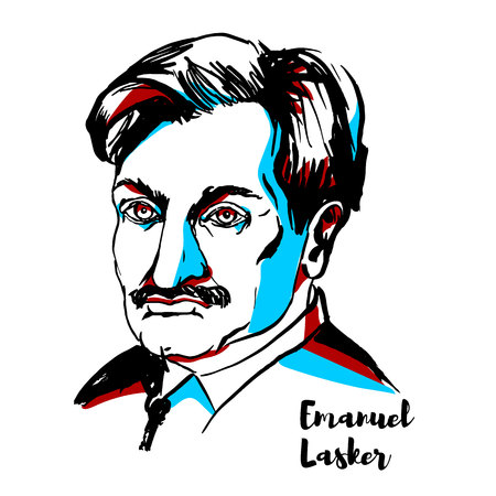 RUSSIA, MOSCOW - DECEMBER 06, 2018: Emanuel Lasker engraved vector portrait with ink contours. German chess player, mathematician, and philosopher who was World Chess Champion for 27 years (from 1894 to 1921).