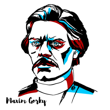 RUSSIA, MOSCOW - NOVEMBER 15, 2018: Maxim Gorky engraved vector portrait with ink contours.Russian and Soviet writer, a founder of the socialist realism literary method and a political activist.