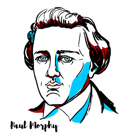 RUSSIA, MOSCOW - DECEMBER 07, 2018: Paul Morphy engraved vector portrait with ink contours. American chess player. He is considered to have been the greatest chess master of his era and an unofficial World Chess Champion.