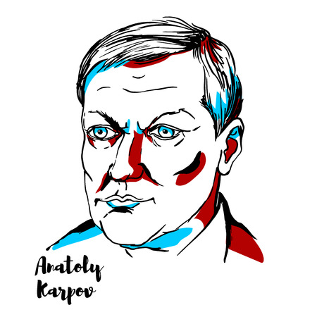 CHINA, CHENGHAI - DECEMBER 17, 2018: Anatoly Karpov engraved vector portrait with ink contours. Russian chess grandmaster and former World Champion. Иллюстрация