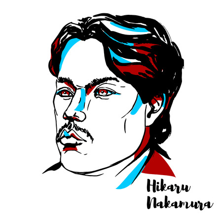 CHINA, CHENGHAI - DECEMBER 20, 2018: Hikaru Nakamura engraved vector portrait with ink contours. Japanese-American chess grandmaster, a four-time United States Chess Champion. Иллюстрация