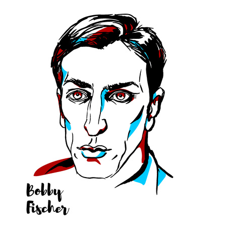 CHINA, CHENGHAI - DECEMBER 16, 2018: Bobby Fischer engraved vector portrait with ink contours. American chess grandmaster and the eleventh World Chess Champion.