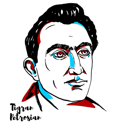 CHINA, CHENGHAI - DECEMBER 20, 2018: Tigran Petrosian engraved vector portrait with ink contours. Soviet Armenian Grandmaster, and World Chess Champion from 1963 to 1969.