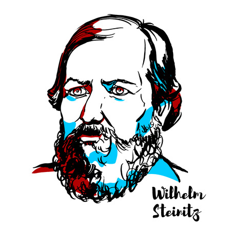 CHINA, CHENGHAI - DECEMBER 16, 2018: Wilhelm Steinitz engraved vector portrait with ink contours. American chess master, and the first undisputed World Chess Champion, from 1886 to 1894.