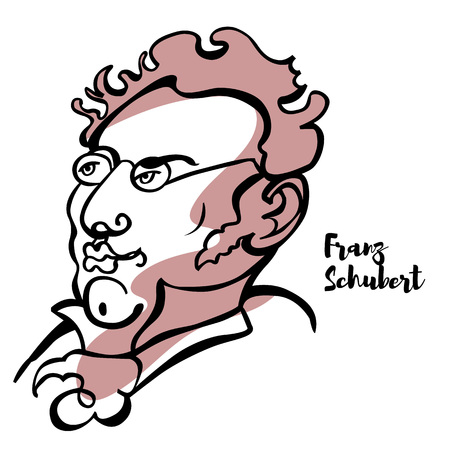 Franz Schubert engraved vector portrait with ink contours. Austrian composer of the late Classical and early Romantic eras. Illustration