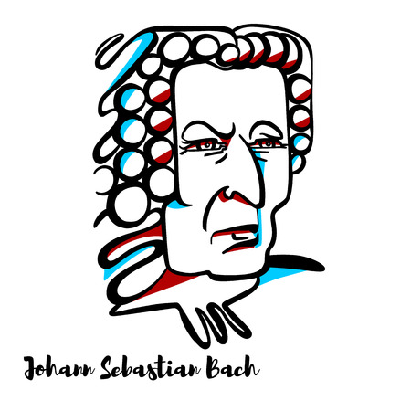 Johann Sebastian Bach engraved vector portrait with ink contours. German composer and musician of the Baroque period. Illustration