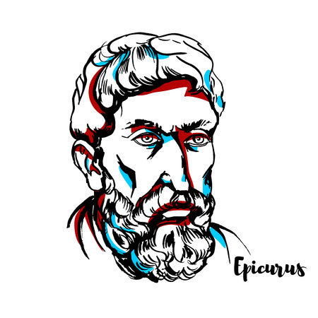 Epicurus engraved vector portrait with ink contours. Ancient Greek philosopher who founded a highly influential school of philosophy now called Epicureanism.