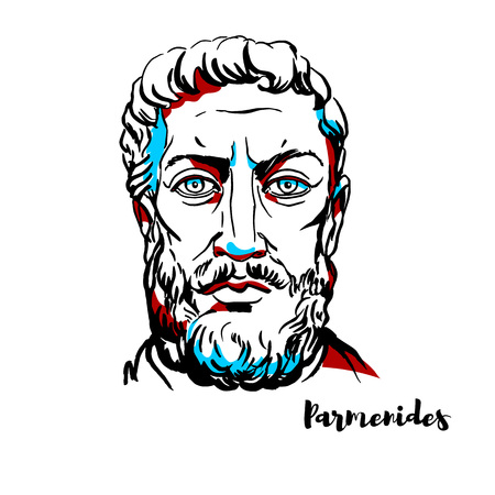 Parmenides engraved vector portrait with ink contours. Greek philosopher from Elea in Magna Graecia. He was the founder of the Eleatic school of philosophy. Illustration