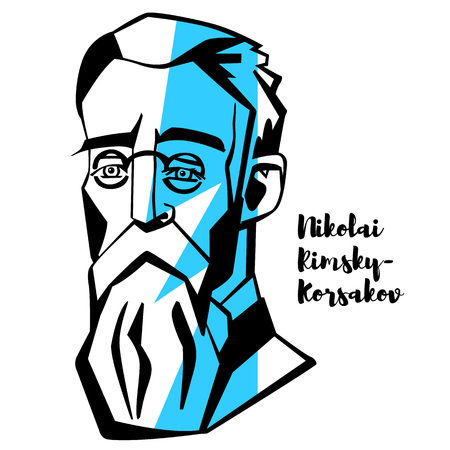 Nikolai Rimsky-Korsakov engraved vector portrait with ink contours. Russian composer, and a member of the group of composers known as The Five. He was a master of orchestration. Illustration
