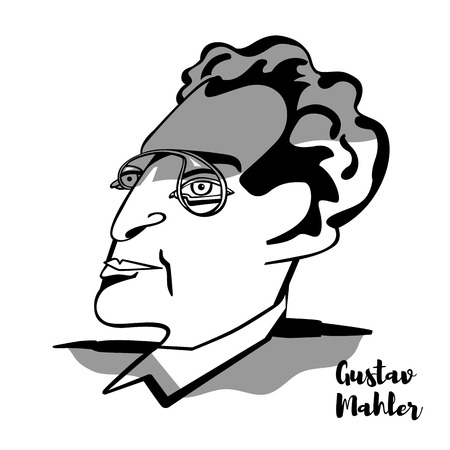 CHINA, CHENGHAI - January 10, 2019 Gustav Mahler engraved vector portrait with ink contours. Austro-Bohemian late-Romantic composer, and one of the leading conductors of his generation.