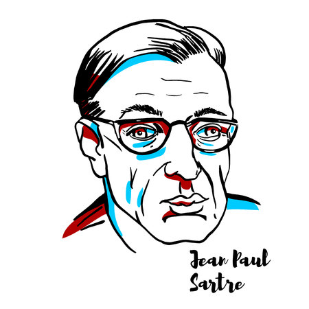 Portrait vectoriel gravé de Jean-Paul Sartre avec contours à l'encre. Philosophe, dramaturge, romancier, militant politique, biographe et critique littéraire français.