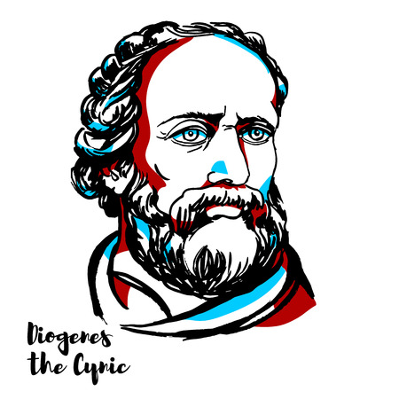Diogenes the Cynic engraved vector portrait with ink contours. Greek philosopher and one of the founders of Cynic philosophy.