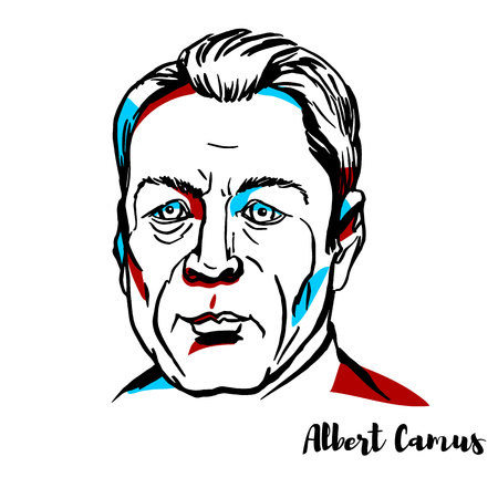 Albert Camus engraved vector portrait with ink contours. French philosopher, author, and journalist.