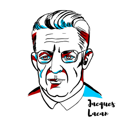 Jacques Lacan engraved vector portrait with ink contours. French psychoanalyst and psychiatrist who has been called the most controversial psycho-analyst since Freud. Illustration