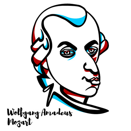 Wolfgang Amadeus Mozart engraved vector portrait with ink contours. Prolific and influential composer of the classical era.