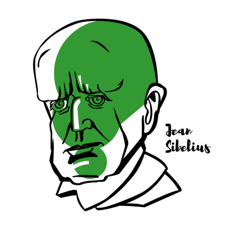 Jean Sibelius engraved vector portrait with ink contours. Finnish composer and violinist of the late Romantic and early-modern periods.