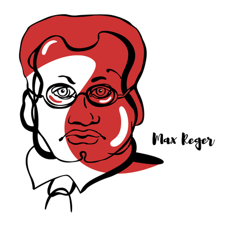 Max Reger engraved vector portrait with ink contours. German composer, pianist, organist, conductor, and academic teacher. Illustration