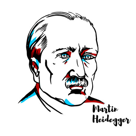 Martin Heidegger engraved vector portrait with ink contours. German philosopher and a seminal thinker in the Continental tradition and philosophical hermeneutics. Stock Illustratie