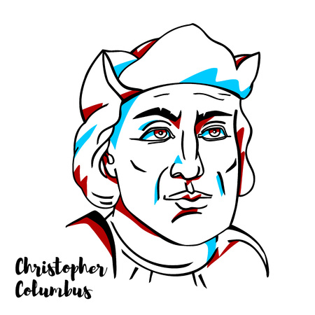 CHINA, CHENGHAI - March, 03, 2019: Christopher Columbus engraved vector portrait with ink contours. Italian explorer, navigator, and colonist who completed four voyages across the Atlantic Ocean. Illustration