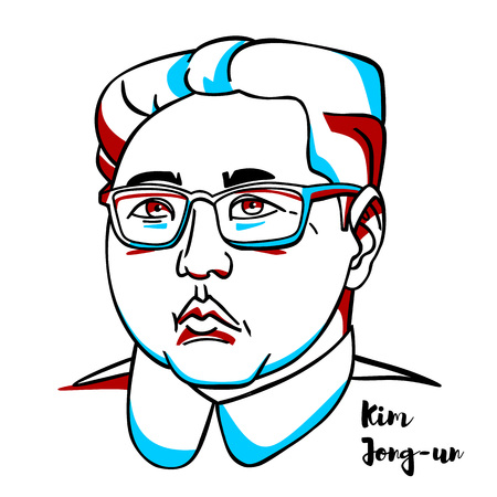 CHINA, CHENGHAI - March, 2, 2019: Kim Jong-un engraved vector portrait with ink contours. North Korean politician serving as Supreme Leader of North Korea. Illustration