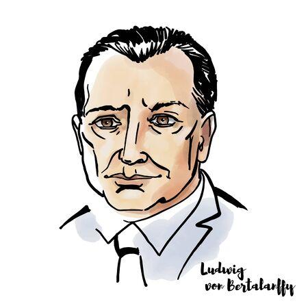 Retrato de acuarela de Ludwig von Bertalanffy con contornos de tinta. Biólogo austriaco. Editorial