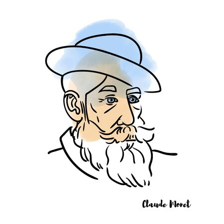 Claude Monet with watercolor contours. French Impressionist painting.