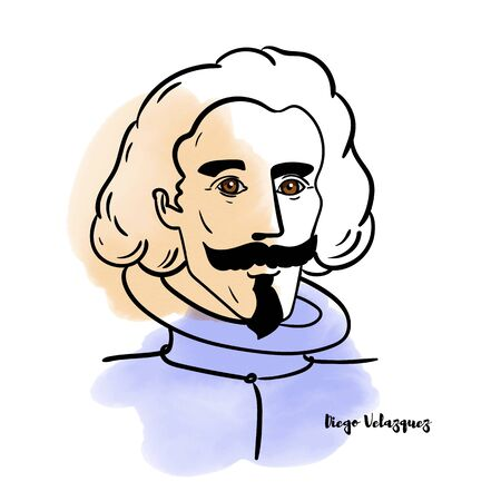 Famous artist Diego Velazquezi vector hand drawn watercolor portrait with ink contours. Spanish painter,  one of the most important painters of the Spanish Golden Age. Redakční
