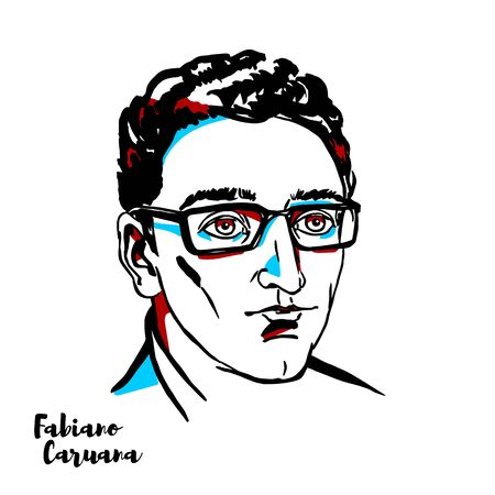 Fabiano Caruana engraved vector portrait with ink contours. Italian-American chess grandmaster. A chess prodigy, he became a grandmaster at the age of 14 years. Redakční