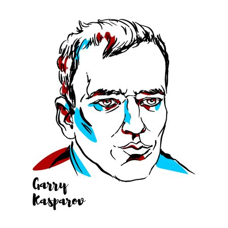 Garry Kasparov engraved vector portrait with ink contours. Russian chess grandmaster, former world chess champion, writer, and political activist