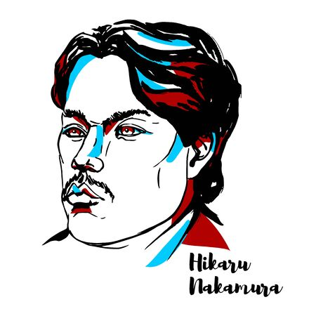 Hikaru Nakamura engraved vector portrait with ink contours. Japanese-American chess grandmaster, a four-time United States Chess Champion.
