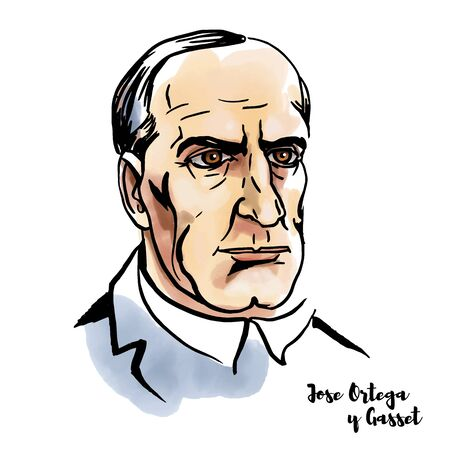 Jose Ortega y Gasset watercolor vector portrait with ink contours. Spanish philosopher and essayist.