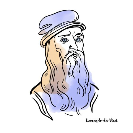 Famous artist Leonardo da Vinci vector hand drawn watercolor portrait with ink contours.