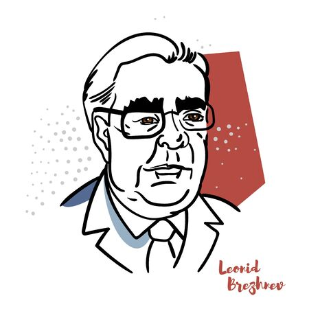 Leonid Brezhnev flat colored vector portrait with black contours. Soviet politician. The leader of the Soviet Union. Editorial