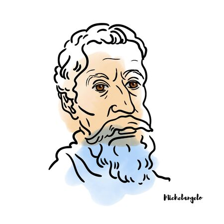 Famous artist Michelangelo vector hand drawn watercolor portrait with ink contours. Italian sculptor, painter, architect and poet of the High Renaissance. Editorial