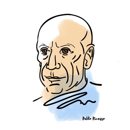 Pablo Picasso watercolor portrait with ink contours. Spanish painter, sculptor, printmaker, ceramicist, stage designer, poet and playwright.