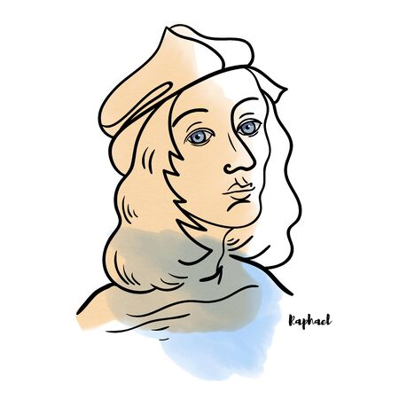 Famous artist Raphael vector hand drawn watercolor portrait with ink contours. Italian painter and architect of the High Renaissance.