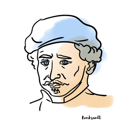 Famous artist Rembrandt vector hand drawn watercolor portrait with ink contours. Dutch draughtsman, painter and printmaker. Editorial