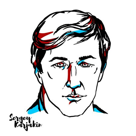 Sergey Karjakin engraved vector portrait with ink contours. Russian chess grandmaster (formerly representing Ukraine).