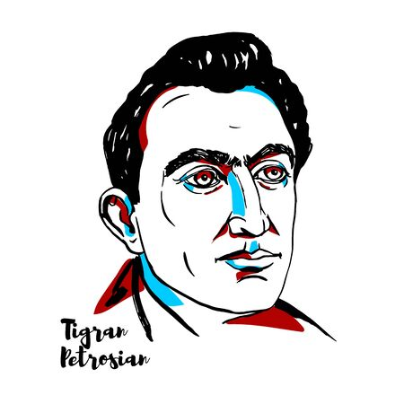 Tigran Petrosian engraved vector portrait with ink contours. Soviet Armenian Grandmaster, and World Chess Champion from 1963 to 1969.