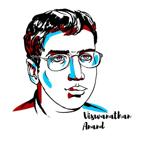 Viswanathan Anand engraved vector portrait with ink contours. Indian chess grandmaster and a former World Chess Champion.