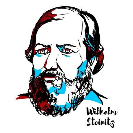 Wilhelm Steinitz engraved vector portrait with ink contours. American chess master, World Chess Champion, from 1886 to 1894. 報道画像