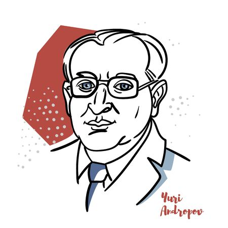 Yuri Andropov flat colored vector portrait with black contours. The Soviet Politician and the Fourth Secretary General of the Communist Party of the Soviet Union.