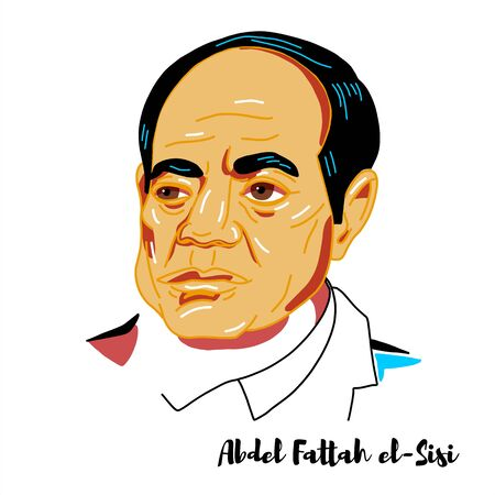 Abdel Fattah el-Sisi engraved vector portrait with ink contours. Egyptian politician who has been the president of Egypt since 2014. Editorial
