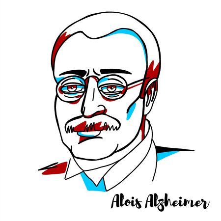 Alois Alzheimer engraved vector portrait with ink contours. German psychiatrist and neuropathologist, the first published case of