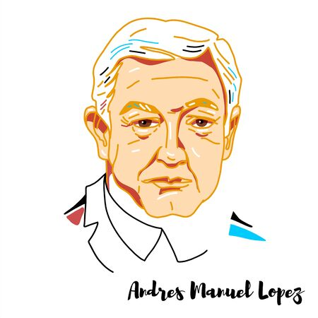 Andres Manuel Lopez engraved vector portrait with ink contours. Mexican politician has been serving since 2018 as the 58th President of Mexico.