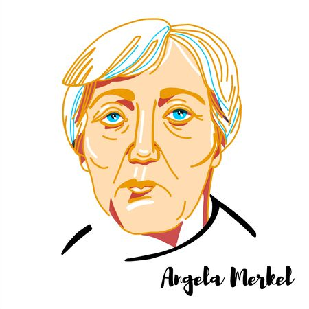 Angela Merkel engraved vector portrait with ink contours. German politician serving as Chancellor of Germany since 2005. 報道画像