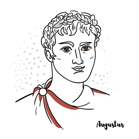 Augustus flat colored vector portrait with black contours. Roman statesman and military leader who was the first emperor of the Roman Empire.
