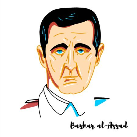 Bashar al-Assad engraved vector portrait with ink contours. Syrian politician who has been the President of Syria since July 17, 2000.